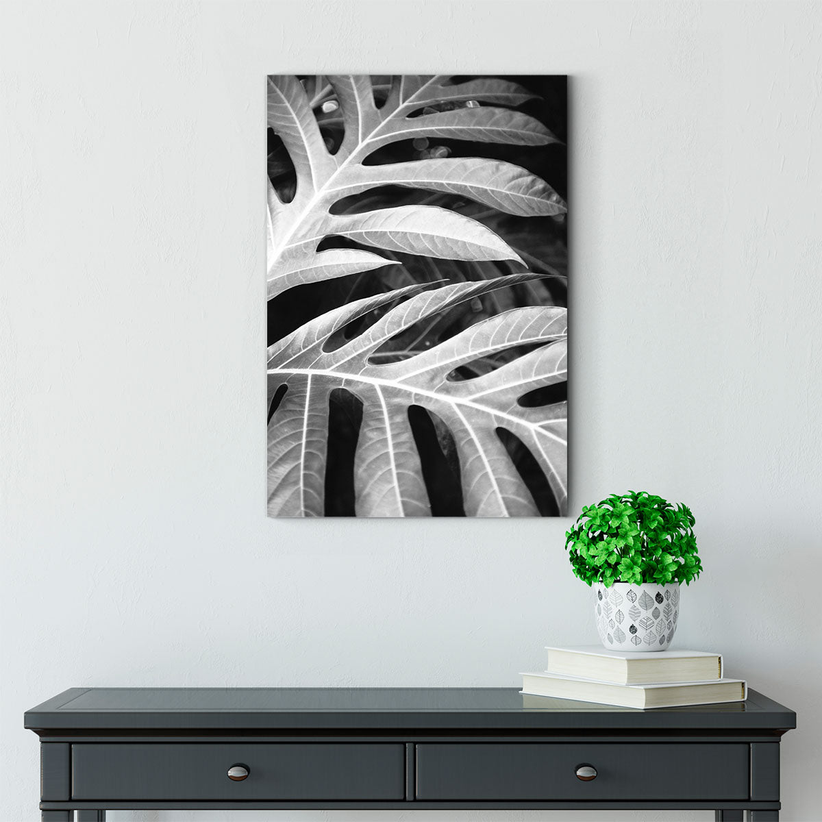The veins of the leaves black and white decorative painting 069