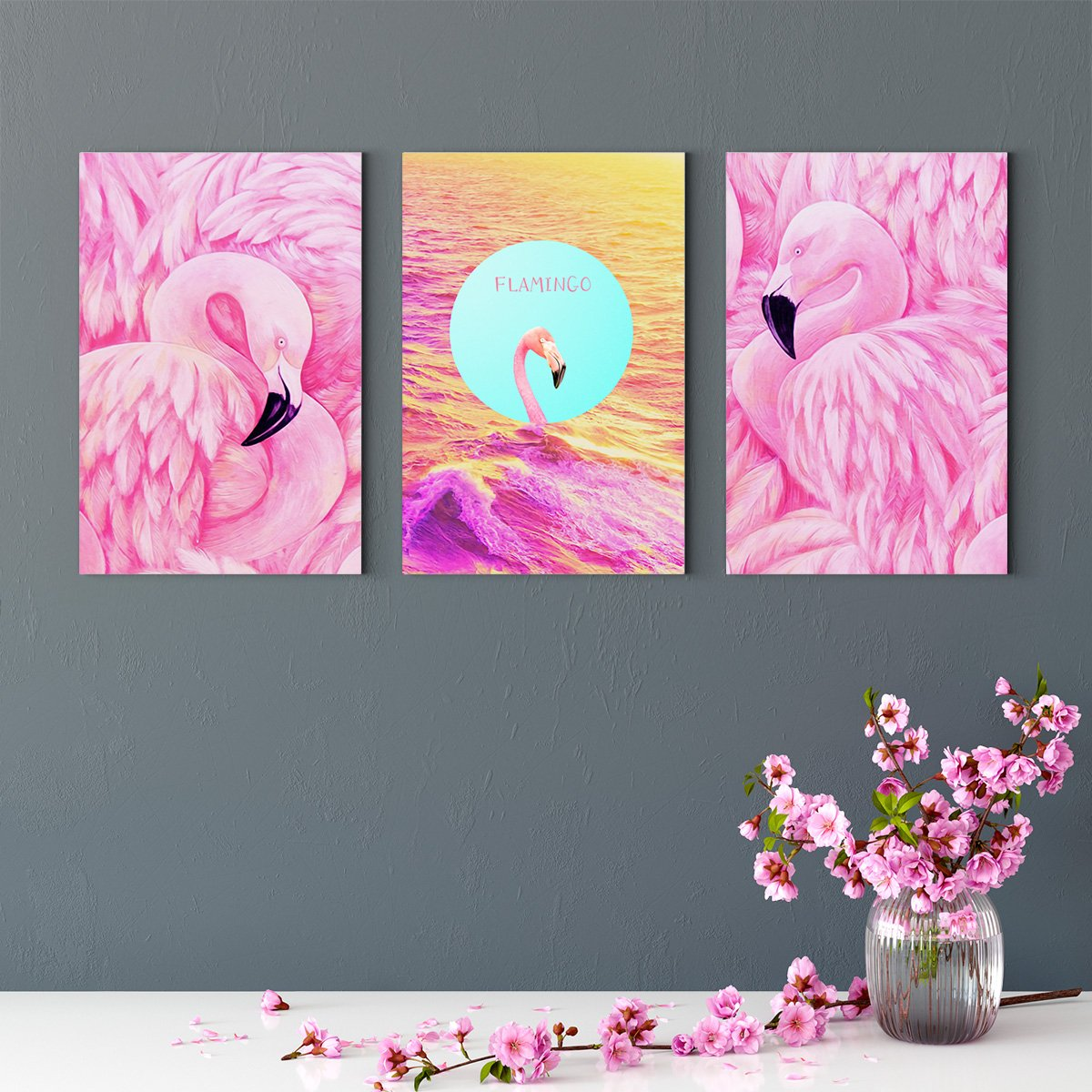 Nordic flamingo - animal decoration painting for living room