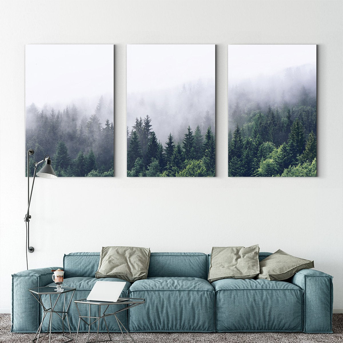 Nordic forest - landscape decoration painting - living room - Multi Panel Wall Art