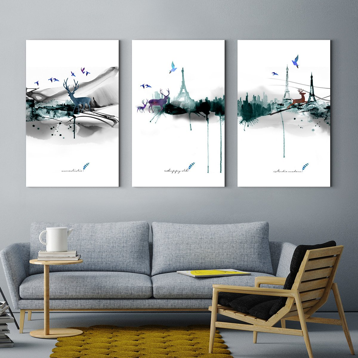 Nordic watercolor elk - abstract decorative painting for living room
