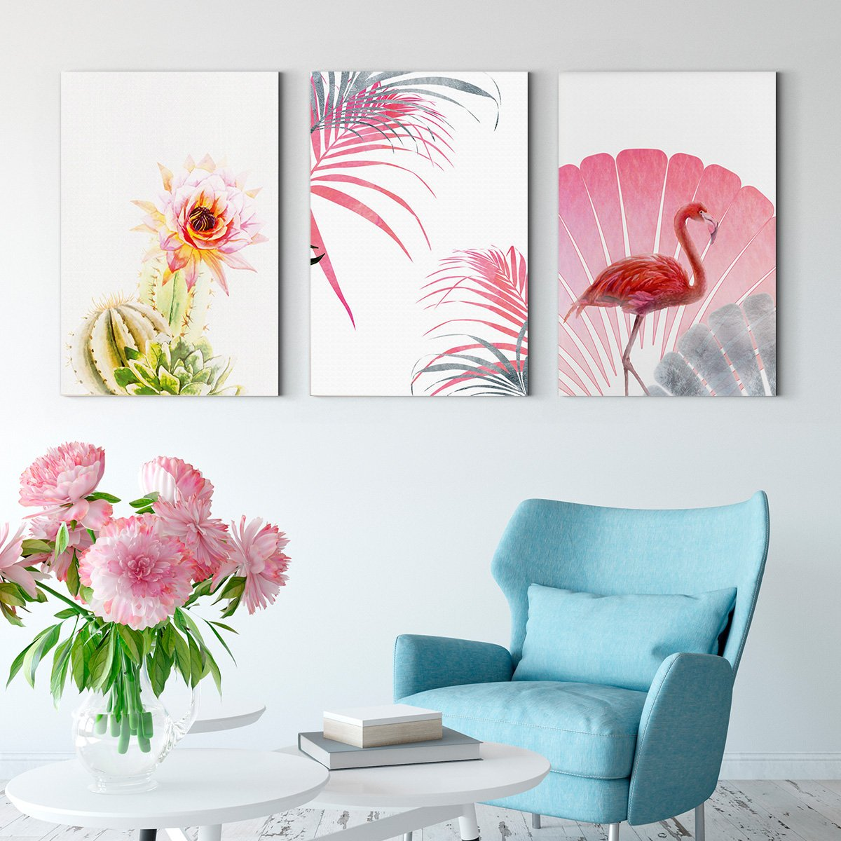 Flamingo flowers - abstract decorative painting - living room - Multi Panel Wall Art