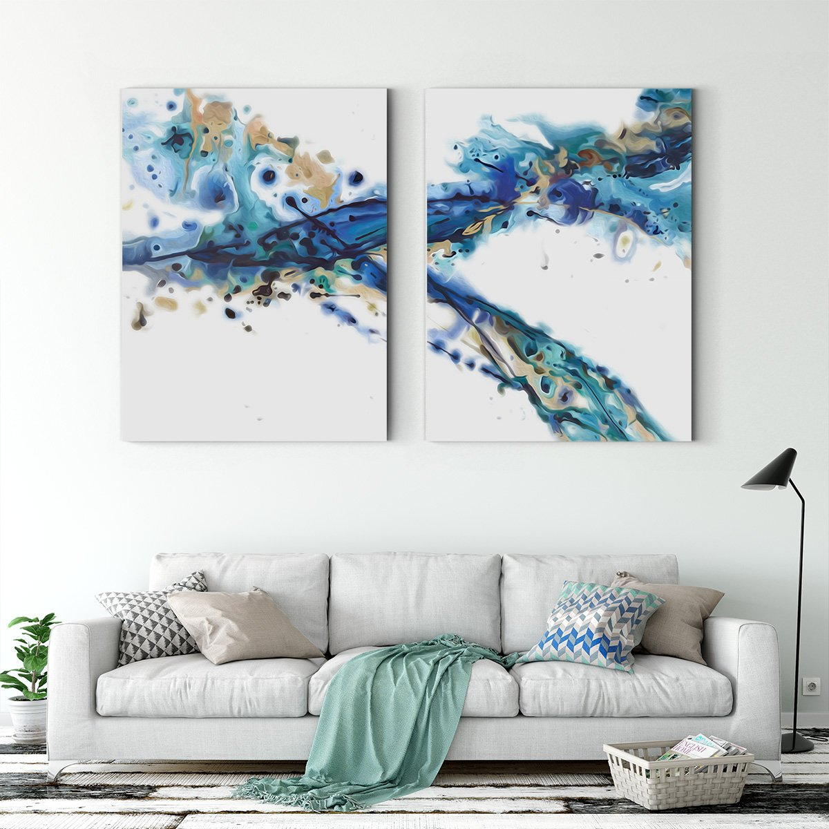 Blue rhythm - abstract decorative painting - living room Multi-Panel Wall Art