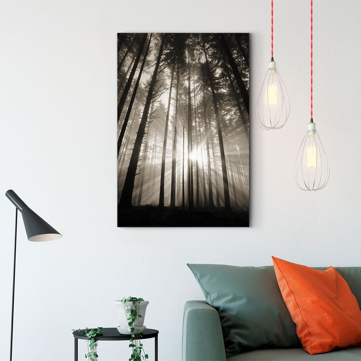 Forest under the sun black and white decorative painting 023