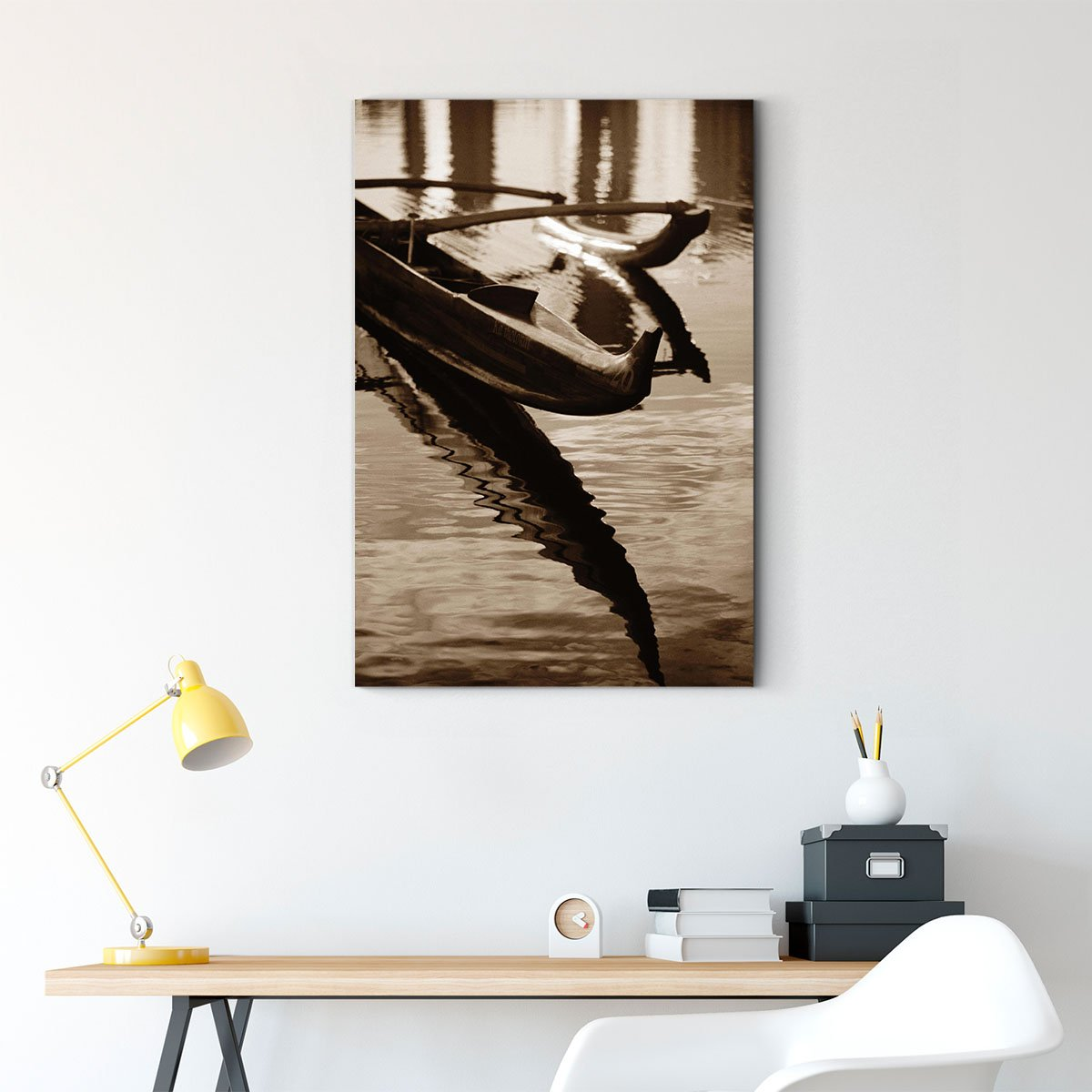 Boat on the river bank black and white decorative painting 026