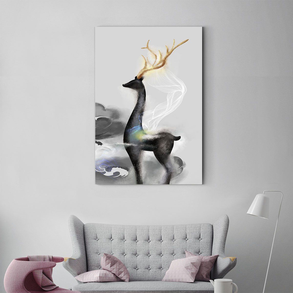 Smart fawn animal decorative painting 003