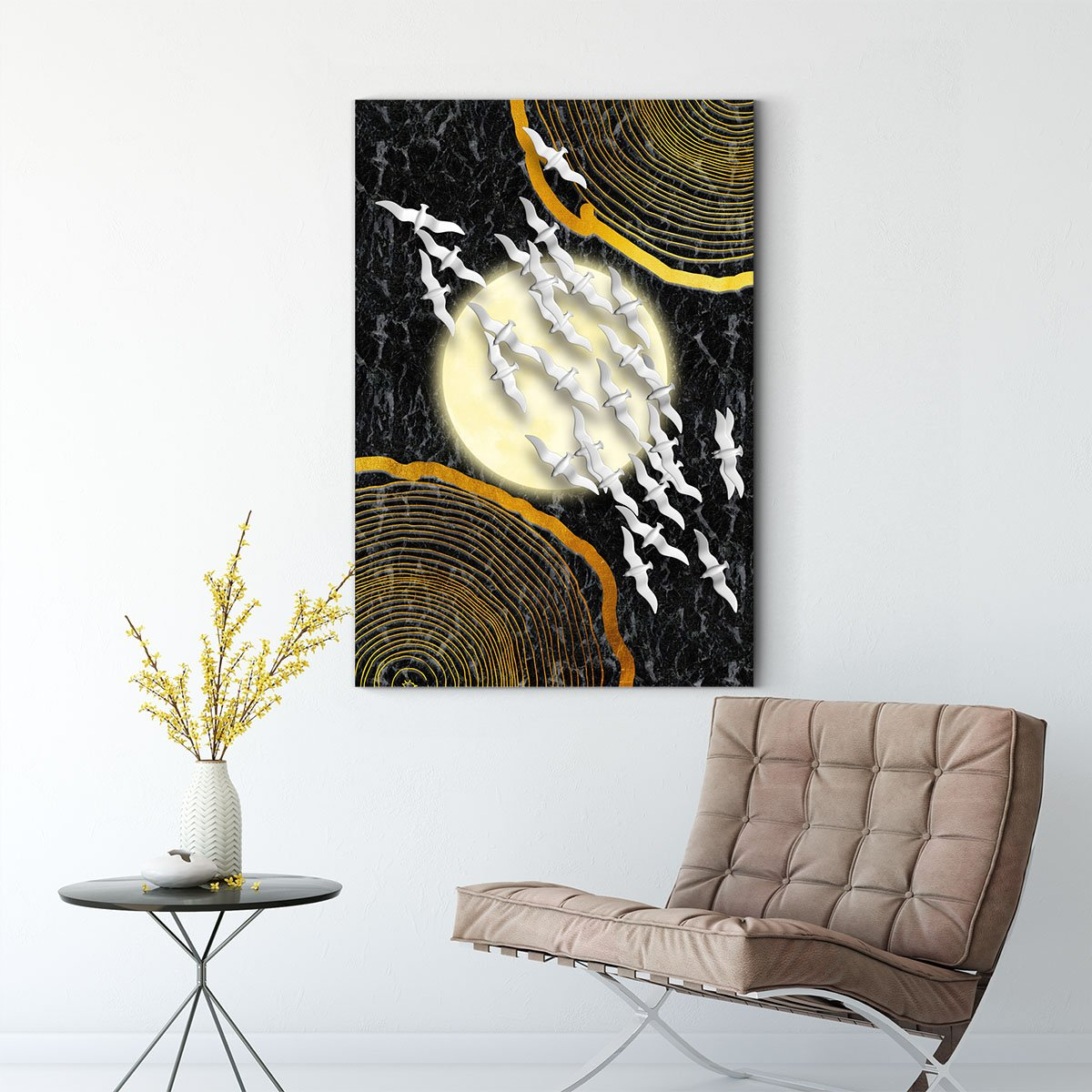 Warm and cold collision abstract decorative painting 013