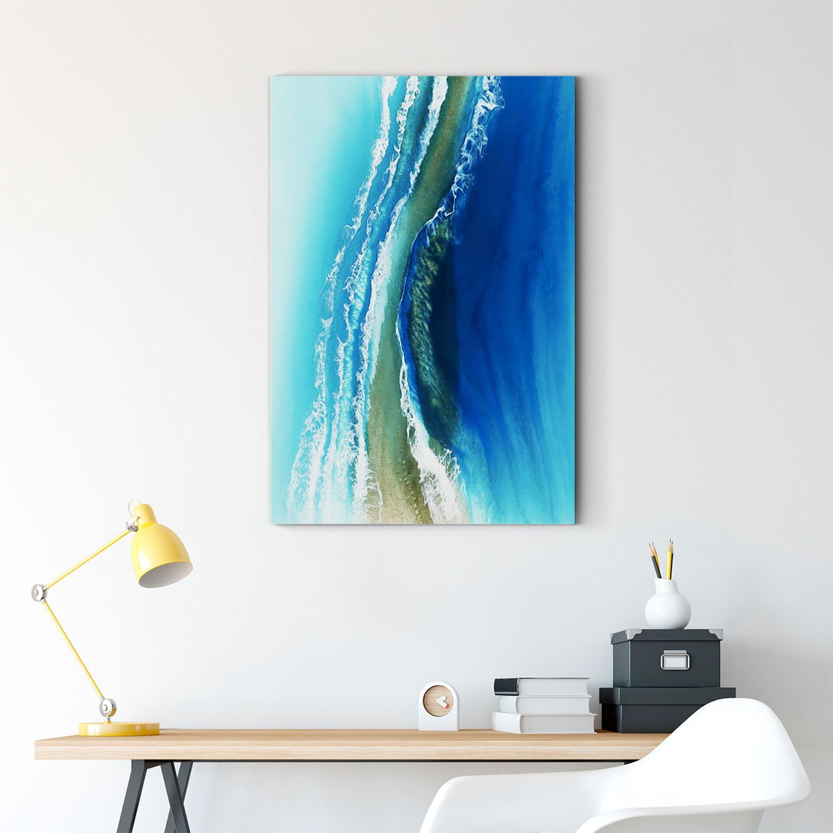 Blue ocean abstract decorative painting 011