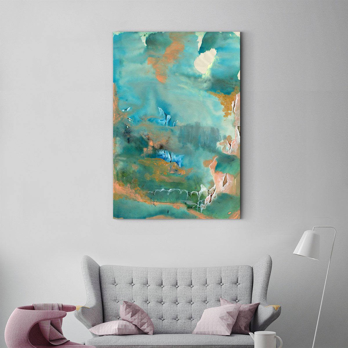 Surrounded mountains abstract decorative painting 001