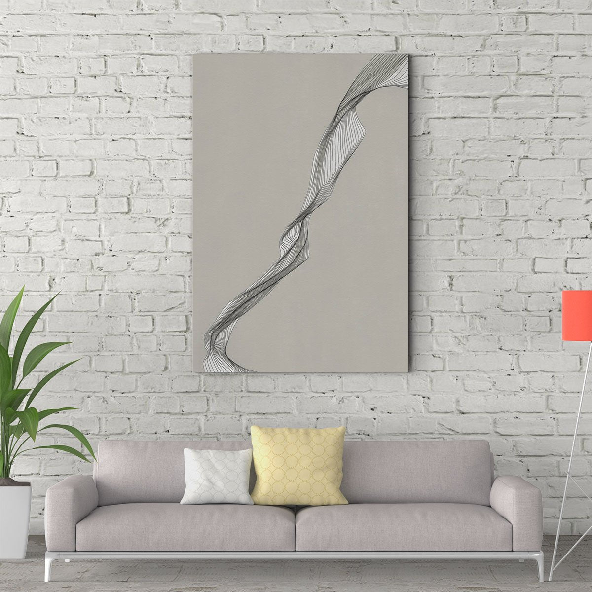 Black and white lines abstract decorative painting 002