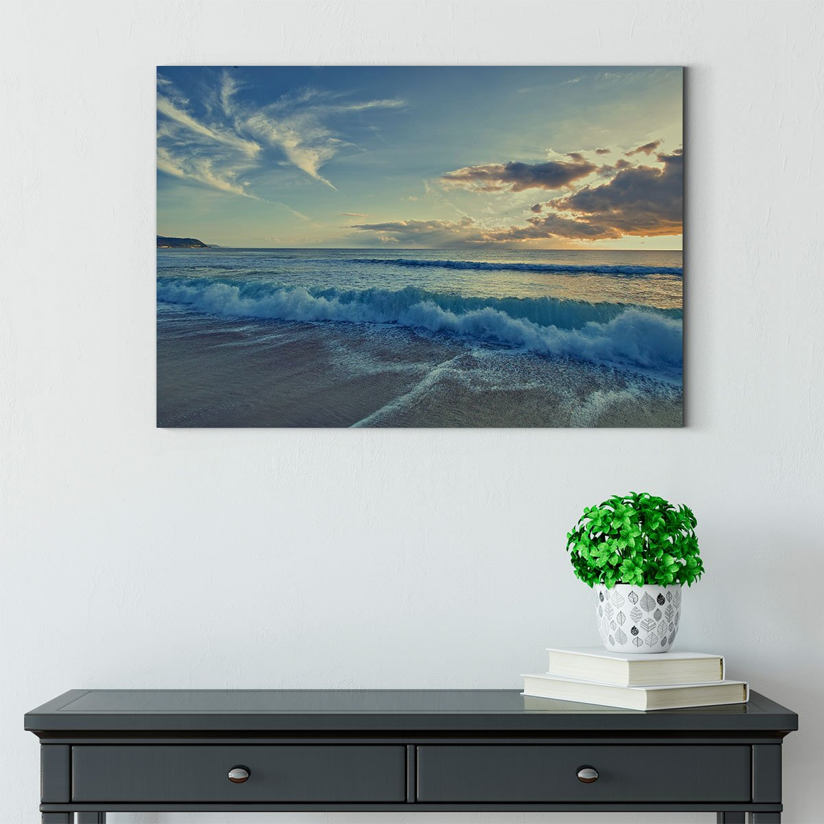 As night fell the impact of the waves on the beach Decorating Print 73