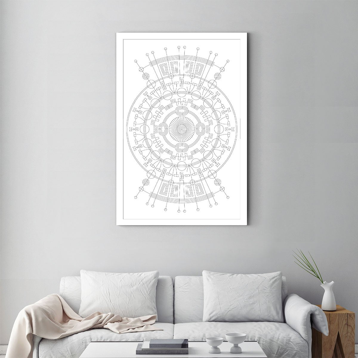 Circular geometry black and white decorative painting 001