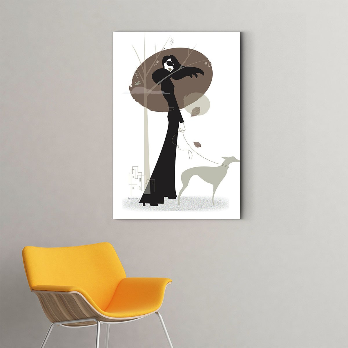 Walking the dog  black and white decorative painting 006