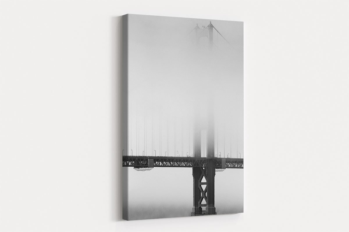 Bridge in fog black and white decorative painting 003