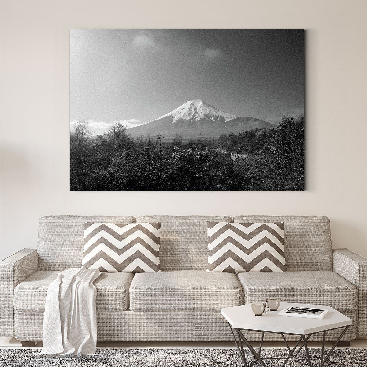 Scenic mountain scenery black and white decorative painting 006