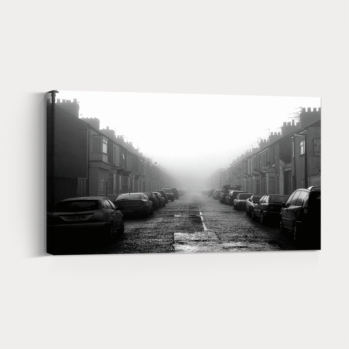 Bustling city scenery black and white decorative painting 008