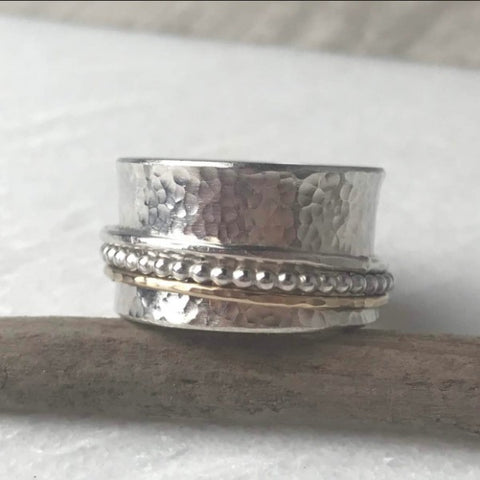 Gold and Silver Beaded Spinning Ring