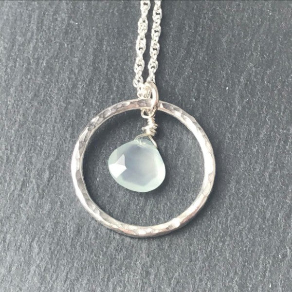 Aqua Chalcedony Hoop Necklace