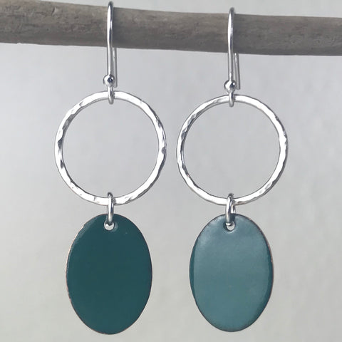 Jade Green Oval Tag Earrings
