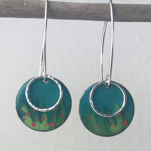 Enamel Meadow Hoop Earrings