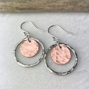 Beaten Copper Disc Earrings