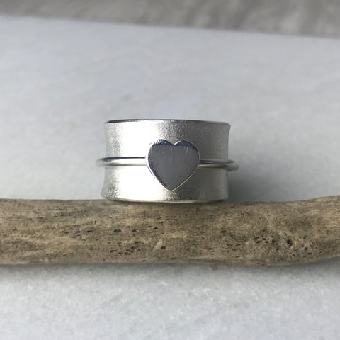 Silver Heart Spinning Ring