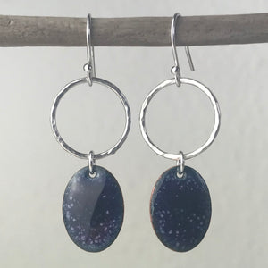 Purple Speckle Oval Tag Earrings