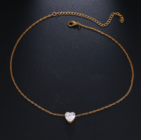 Image of Crystal Heart Chain Necklace