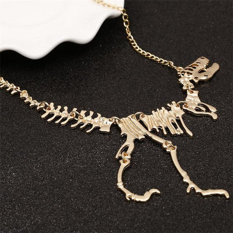 Image of Gold and Silver T-Rex Necklace