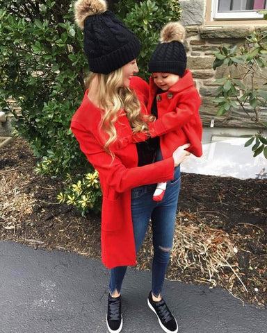 "Image of ""Mommy & Me"" Matching Faux Fur Beanies"