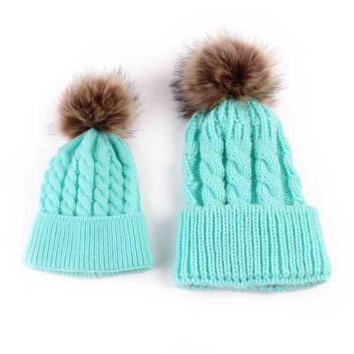 """Mommy & Me"" Matching Faux Fur Beanies"