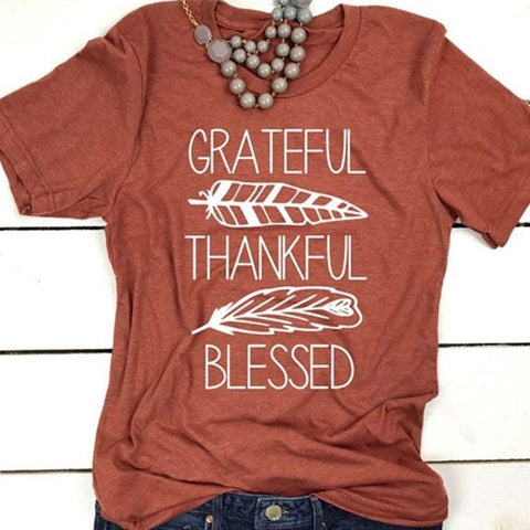 """Grateful, Thankful, Blessed"" T-Shirt"