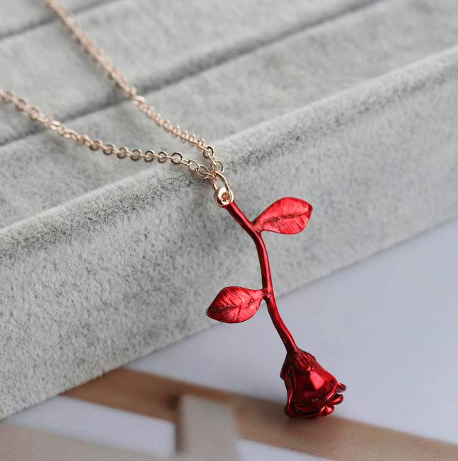 Gold and Silver Red Rose Necklace