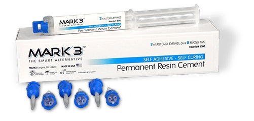 Mark3 Permanent Resin Cement 7 ml Automix Syringe with 6 Tips, Self Cure - Made in USA