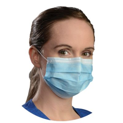 Disposable Earloop 3PLY Pleated Dental Face Mask ASTM Level 3 Blue Color - Box of 50