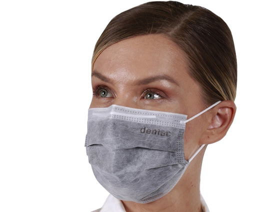 Dentac 3 PLY Ear Loop Surgical Mask, ASTM Level 3, Black Color Enteral Layer is Waterproof  (Box of 50)