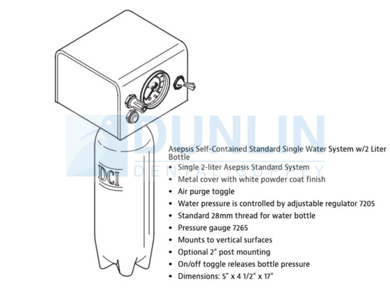 Asepsis Self-Contained Standard Single Water System with 2 Liter Bottle DCI 8183