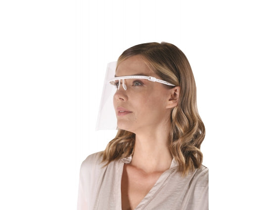 Google Face Shield, Eye Glass Style 1 Frame, 5 Shields - Reusable