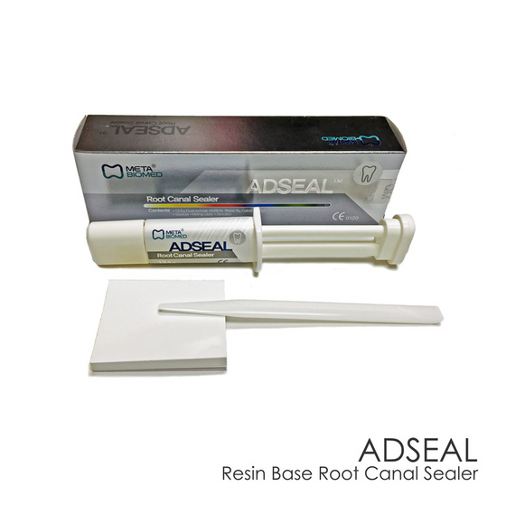 Adseal Resin-Based Root Canal Sealer, Radiopaque, 13.5 Gm. Dual Syringe (9 Gm. Base and 4.5 Gm. Catalyst), 1 Spatula, 1 Mixing Plate