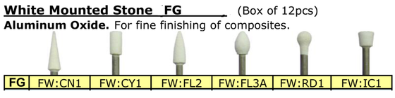 BesQual FG White Mounted Stones (Pack of 12) for Finishing Porcelain, Gold, Silver Alloys, Amalgam and Composites