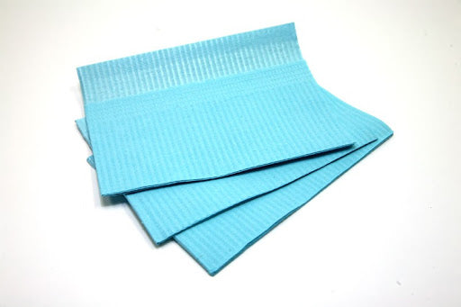 "Dukal Premium Patient Bibs BLUE 13"" x 18"" 3PLY, Reinforced Edge for Added Strength (Case of 500)"