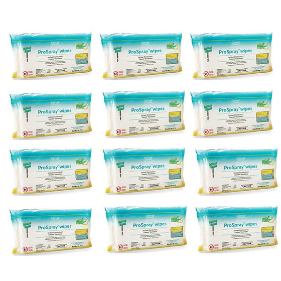 "ProSpray Wipes Disinfectant, 9"" x 10"". Soft Pack, Case of 12 x 72 Wipes/Pk"