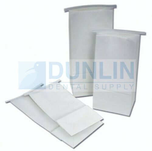 "Dental Delivery Bags - Heavy Duty White Paper Bags, Tin Tie Closure, Reinforced Base (5.5 x 11"") 500 Pcs"