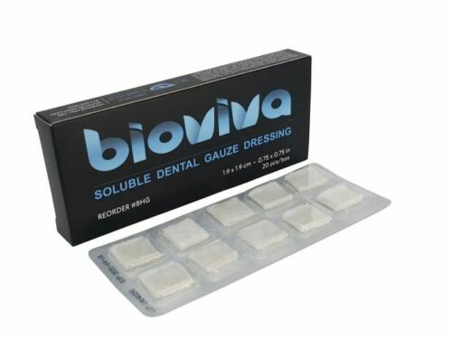 BioViva Soluble Hemostatic Dental Gauze Dressing Individually Packaged Box of 20