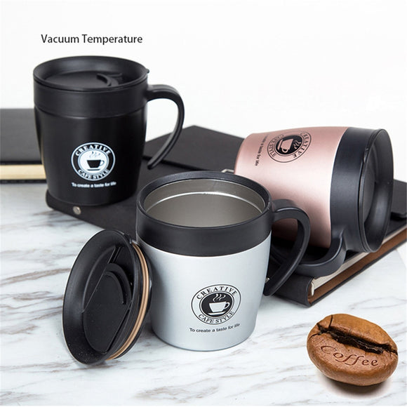 e28c5090d2e Handle Coffee Mug Stainless Steel Thermos Cups Vacuum Flask thermo Water  Bottle Adult Bussiness Men Tea