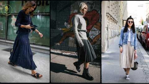 Effortlessly chic with a graphic t or sweatshirt, pleated skirt and flat shoes, boots, or sandals