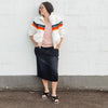 Rainbow Striped Zip-up Sherpa