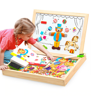 100+Pcs Wooden Magnetic Puzzle