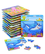 Wooden Jigsaw Puzzles for Kids - Animals Puzzles -12 pack