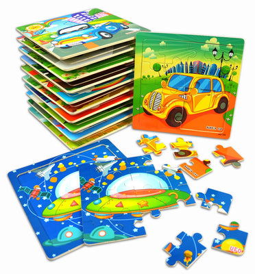 Jigsaw Puzzles - Wooden Puzzles for Kids -12-Pack