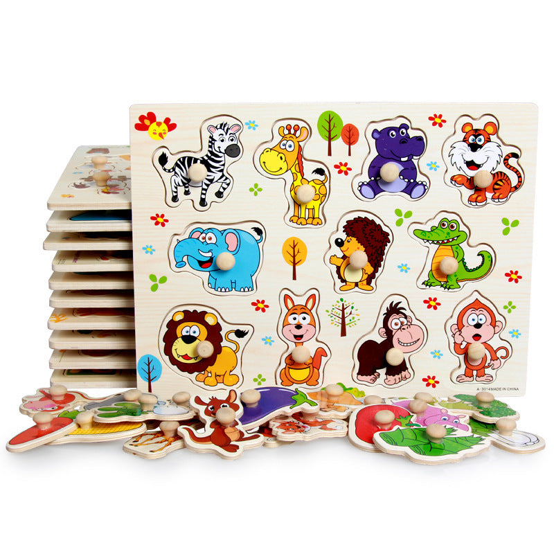 animals fruits vehicles wooden puzzle